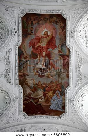 WURZBURG, GERMANY - JULY 18: Risen Christ, fresco painting in the Neumunster Collegiate Church in Wurzburg on July 18, 2013.