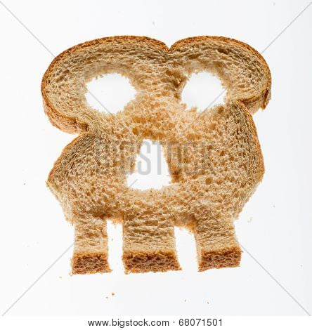 Slice Of Wholewheat Bread In Shape Of Skull
