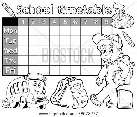 Coloring book school timetable 1 - eps10 vector illustration.