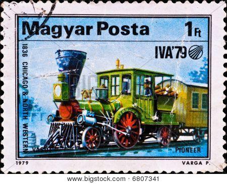 Postage Stamp Shows Locomotive