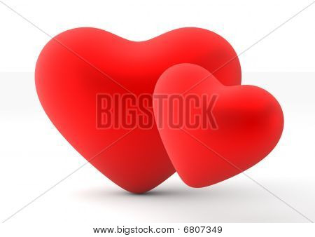 Two Loving Hearts (love, Valentine Day Series, 3D Isolated Objects)