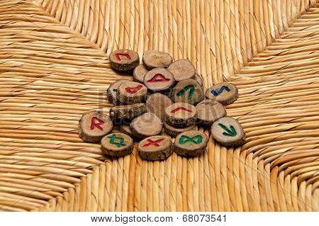 Runes On Rattan Surface