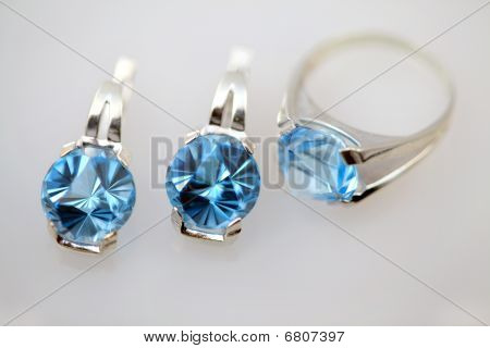 Silver Jewelry With Blue Topaz