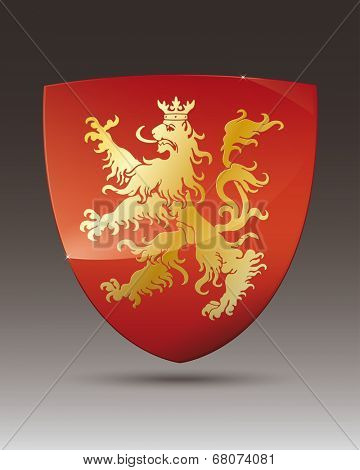 Golden lion on red shield coat of arms