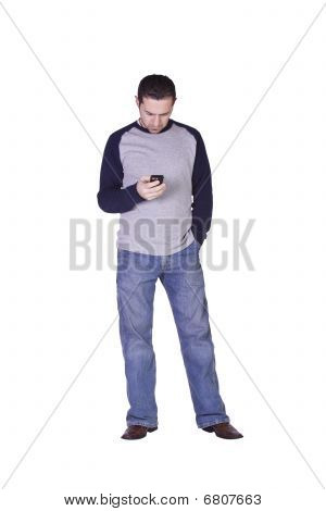 Mediterranean Man Checking His Emails On His Palm Pilot