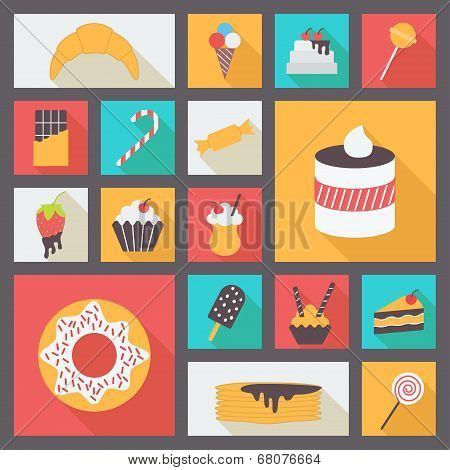 Set of various sweets for restaurant and menu. Flat design vector icons.