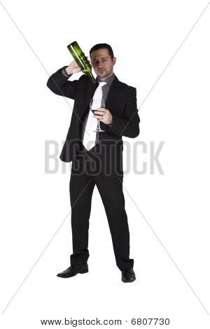 Businessman Getting To The Bottom Of The Drink