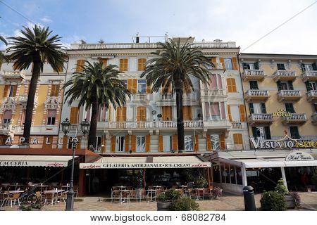 RAPALLO, LIGURIAN COAST, ITALY - MAY 04: building facade on May 04, 2014, in Rapallo, Italy