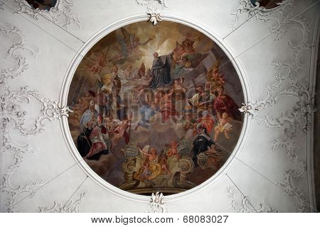 SCHMERLENBACH, GERMANY - JULY 19: Fresco painting in Sanctuary of St. Agatha in Schmerlenbach in the Diocese of Wurzburg on July 19, 2013.
