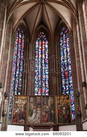WURZBURG, GERMANY - JULY 18: The Our Lady Chapel in Wurzburg is a gothic church building on the Lower Market. Despite its size, it is canonically a chapel on July 18, 2013.
