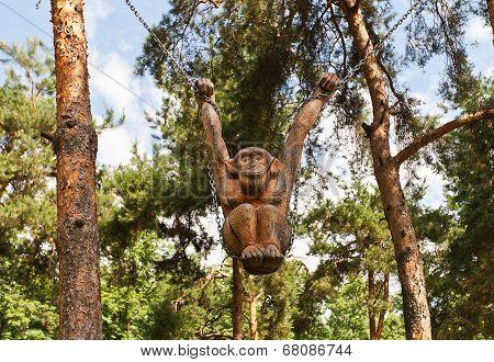 Wooden Monkey Sculpture In Dmitrov, Russia