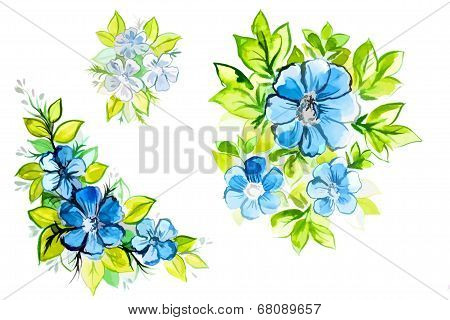 Bright Beautiful Blue Flowers With Leaves