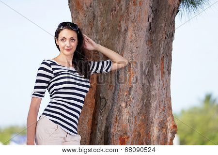 Fashion model in a nature setting
