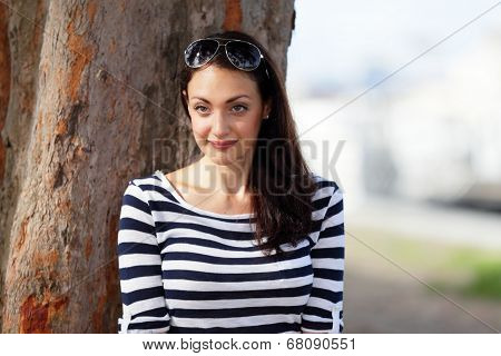 Woman in striped in nature