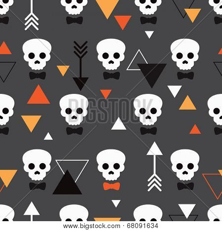 Seamless dark skull illustration halloween theme and geometric arrow details background pattern in vector