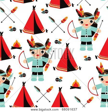 Seamless indian boys with feather arrow illustration background pattern in vector