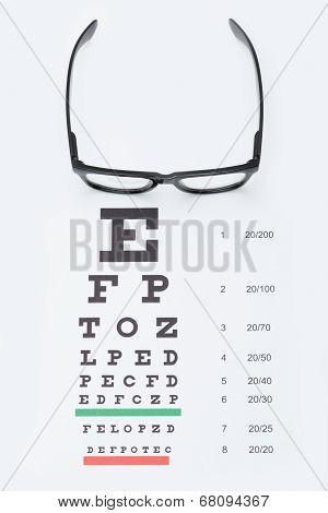 Eyesight Test Chart With Glasses Over It - Studio Shot