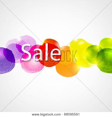 Watercolor Sale Poster, With Gradient Mesh, Vector Illustration