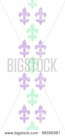 Abstract textile fleur de lis stripes vertical seamless pattern background