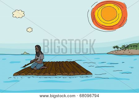 Man With Wooden Raft