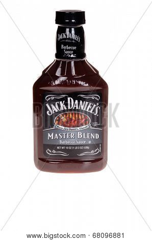 HAYWARD, CA - July 8, 2014: Bottle of Jack Daniels Master Blend Barbeque Sauce made under license by H.J. Heinz CO., LP.