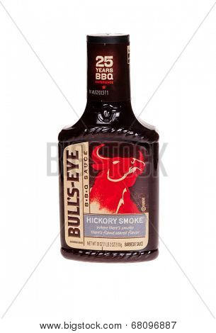 HAYWARD, CA - July 8, 2014: 18 oz Bottle of Bull's Eye brand Kickory Smoke Barbecue Sauce made under license by Kraft Foods Global, Inc.