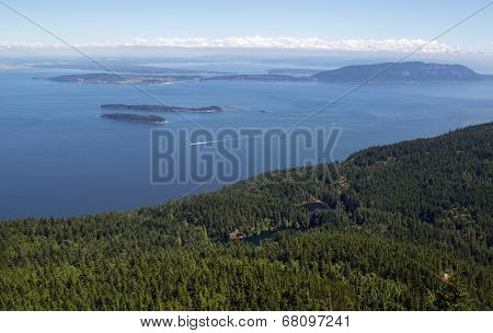 San Juan Islands And Twin Lakes In Washington State On A Summer Day