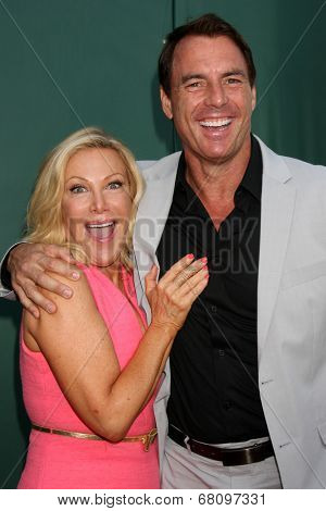 LOS ANGELES - JUL 8:  Kym Douglas, Mark Steines at the Crown Media Networks July 2014 TCA Party at the Private Estate on July 8, 2014 in Beverly Hills, CA
