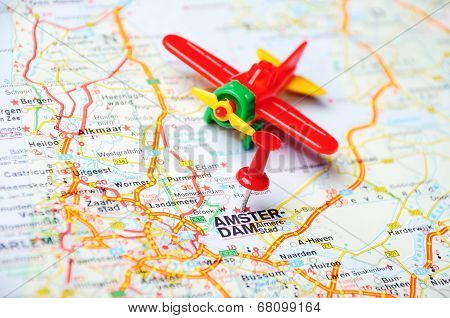 Amsterdam,holland Map Airplane