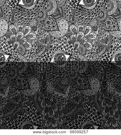 Black and White Seamless Vector Mandala Pattern