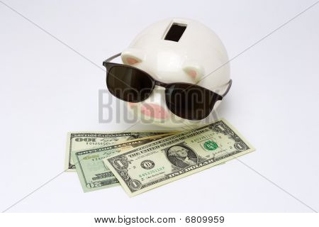 Blind Piggy Bank And Us Dollars