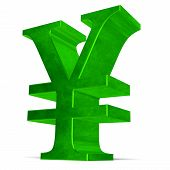 pic of yuan  - Green reflective yen or yuan sign isolated on white - JPG