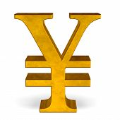 stock photo of yuan  - Golden reflective yen or yuan sign isolated on white front view - JPG
