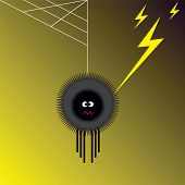 foto of lightning bugs  - Vector illustration of spider shocked by lightning - JPG