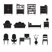 stock photo of wardrobe  - Furniture black decorative icons set of wardrobe bookshelf computer table isolated vector illustration - JPG