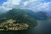 stock photo of salvatore  - View of Monte Bre mountain from Monte San Salvatore Switzerland - JPG