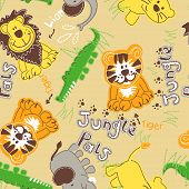 picture of pal  - Jungle pals wild animals seamless pattern  - JPG