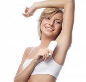 foto of armpit  - armpit axillary space attractive young caucasian woman  body care isolated  on white background studio shot figure body applying deododant - JPG