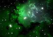 image of hydrogen  - Green cold hydrogen clouds in the nebula - JPG