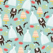 stock photo of wedding feast  - Vintage wedding symbols in seamless pattern set - JPG