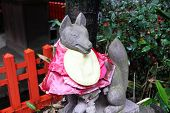 image of inari  - Fox statue at inari shrine in Kamakura - JPG