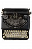 stock photo of qwerty  - vintage portable typewriter with Cyrillic letters on white - JPG