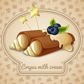 picture of crepes  - Crepes with cream dessert bakery emblem and food cooking icons on background vector illustration - JPG
