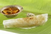image of garam masala  - Masala Dosa Stuffed With potato Masala, Chutney And Sambhar.
