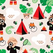 stock photo of boy scouts  - Seamless boys jungle safari adventure background pattern illustration in vector - JPG