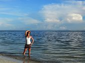 foto of filipina  - Filipina in the sea at a Siquijor beach