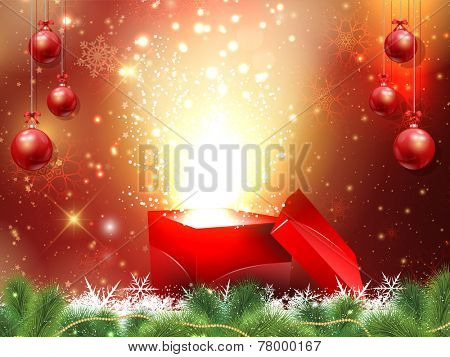 Christmas gift background with hanging baubles