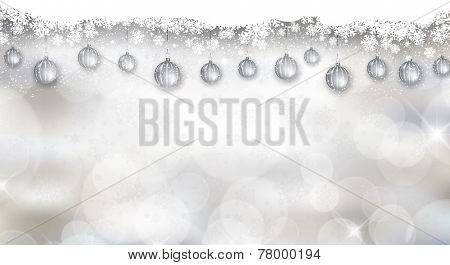 Decorative widescreen Christmas background with snowflake design and hanging baubles