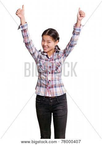 Winning concept. Asian girl shows well done with both hands