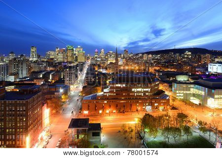 Montreal city skyline at sunset, Quebec, Canada